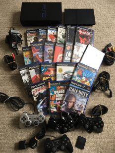 Massive PS2 Bundle - 2 Playstation Consoles including  4 Controllers , Memory Cars and  21 Games