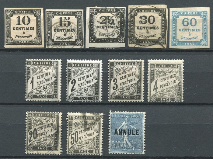 France 1859/1923 - Selection of postage due stamps and training stamps - Yvert (Postage due) 2, 3B, 5, 6, 9/13, 17, 20 and training 161-CI 2