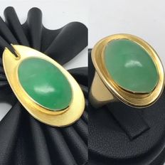 Vintage jade jewellery set: Pendant & ring large stones in 750 / 18kt yellow gold