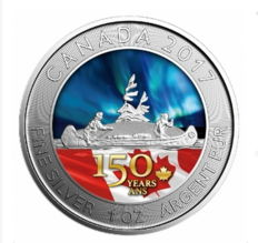 5 CAD - Royal Canadian Mint -  1 oz 150 years voyageur 2017 - colour edition - edition of 1,500 pieces - 999 silver coin
