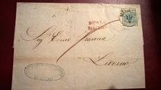 Lombardy Venetia 1853 - 45 cents. azzurro ardesia, used on cover from Milano to Livorno - Sass. N. 11
