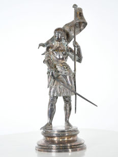Jean Bastiste Germain (1841-1910) - Jeanne D'Arc - silver plated bronze - France - late 19th century