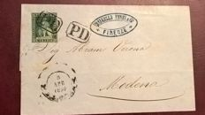 Tuscany 1851 - 4 cr, verde giallo scuro su grigio, used on a cover from Firenze to Modena  - Sass. N. 6d
