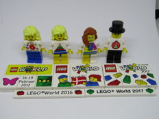 Lego World store opening minifigures from 2014 + 2016 + 2017