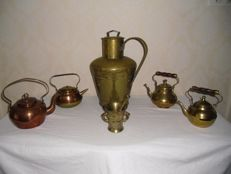 Large brass jug - mortar - 4 copper tea kettles - The Netherlands - kitchen collectibles