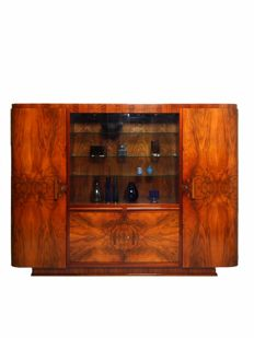 De Coene (attributed to) - Walnut Art Deco buffet with display case