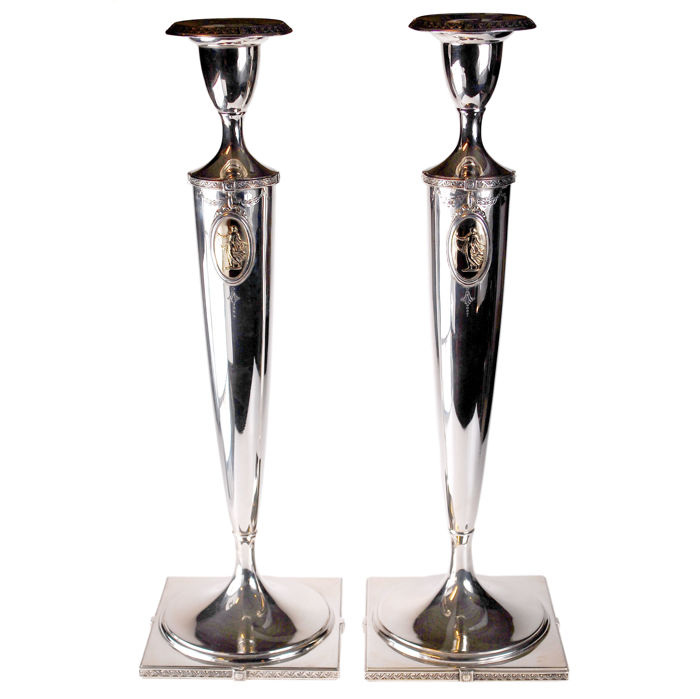Pair of Silver Candlesticks, Brand-Chatillon, USA, Art Nouveau (1895-1915)