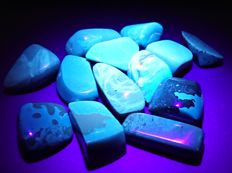 Fluorescent blue Amber from Sumatra - 30 x 25 x 15 mm - 45 x 30 x 25 mm - 191 g (13)