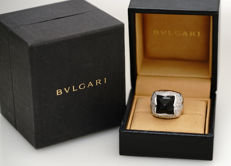 Bvlgari - Onyx Diamond Pyramid Ring - 46 diamonds - 18k white gold - size 50/5.5