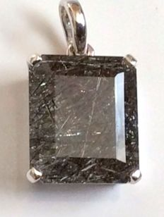 925 Silver Handmade Natural Earth Mined  Black Rutil Quartz  Rectangular Pendant