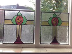 Two beautiful old Art Deco stained glass SunCatchers with mosaic pieces from mouth-blown and cut glass, in soft colours, approx. 1920