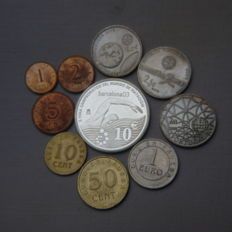 Spain - Lot of 10 coins - Commemorative euros from Spain and Portugal - €10 silver   10th Final World Swimming Championship - Barcelona 03 - Proof € - Churriana - Portugal 2 and half € year 2009 - Olympic Games Pekin - Los Jeronimos Monastery