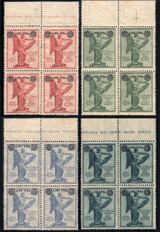 Italy, Kingdom, 1924 -- Victory complete overprint series in blocks of 4 -- Sassone  no. S.30