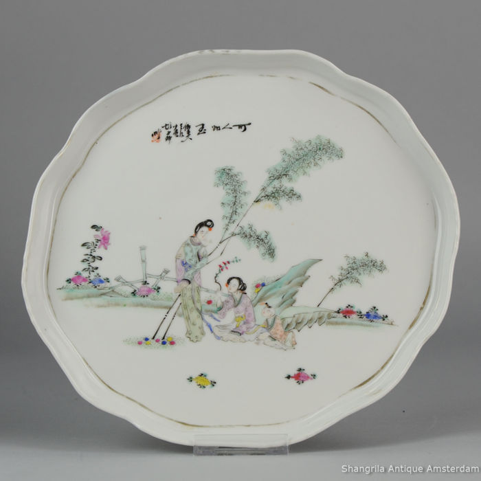 Antique Porcelain Charger Porcelain Calligraphy - Chinese - Late Qing / Republic