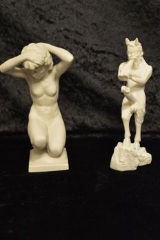 Hutschenreuther figurine - female nude, signed Karl Tutter - and satyr - god of fertility