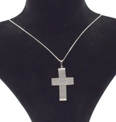 14 K white gold chain with Cross  - 45  cm