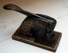 Antique Seal press - embossing press (rare) cast iron embossing press, relief or table press, late 19th century