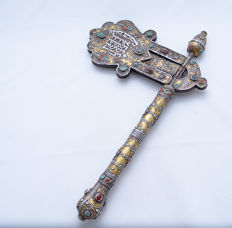 A silver Purim rattle / ratchet - parcel gilt, filigree, embellished with Agate and Turquoise - Turkemenistan - second half 20th century