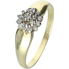 14 kt Yellow gold rosette ring set with 19 octagon cut diamonds, approx. 0.01 ct each, in a white gold setting - Ring size 19 mm