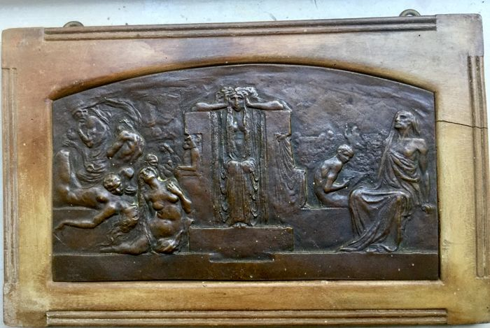 L. Bistolfi (1859-1933) - Symbolismo bassorilievo in bronzo - funerary commemorative plaque