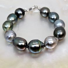 Beautiful bracelet Ø 10,6x12,6mm - Tahitian cultured pearls - 925Silver clasp