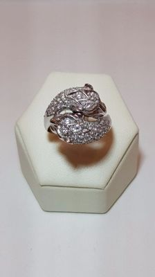 18-kt White Gold Ring with Diamonds - Size: 19