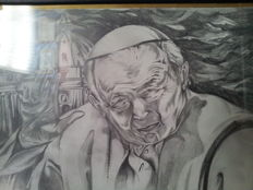 Pencil portrait of Pope Wojtyla signed by the author Antonio Aballe, 2009