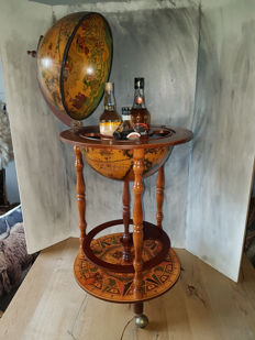 Stylish globe bar with old maps and the Anemoi (maritime winds) - Italy - 2nd half of the 20th century