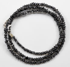 23.50 ct Bracelet or Necklace with Black Rough Diamonds - 16 inches