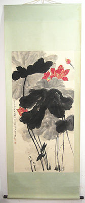 Hand painted scroll painting《张大千-荷花图》 - China - late 20th century