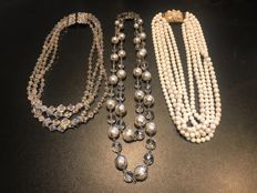 3x massive Art Deco large statment necklaces totally stunning vintage glass and crystals items