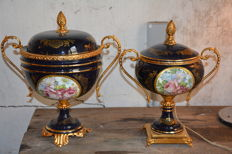 Two Cobalt Blue Limoges style Coupes - France - 20th century