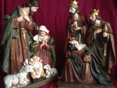 Nativity scene with the birth of Jesus with the three Wise Men, height 48 cm