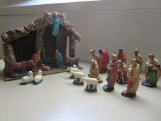 Complete intact Nativity scene - hand painted