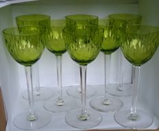 8 x Val St Lambert Nestor Hamlet - cut crystal wine glasses, Belgium, 20th century