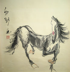 Hand painted scroll painting made after Liu Boshu刘勃舒- 劲马图 - China - late 20th century