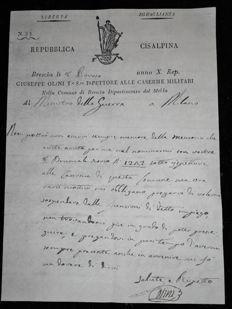 Occupation par Bonaparte de la République CISALPINE  28 January 1802 letter addressed to the minister of war in Milan