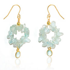 Pair of 14kt/585 yellow gold earwires with Aquamarine – Length 4.5 cm