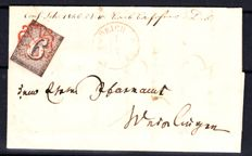 Canton Zurich - 1843 - 6 Rp on letter with red Zurich rosette