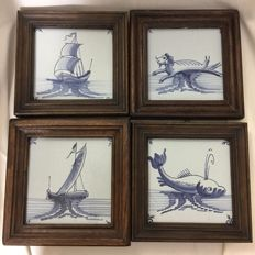 4 paintings of Dutch Delft tiles with decorative nautical decors
