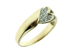 14 karat gold fantasy ring, heart-shaped, set with diamonds, ring size 18.5/19