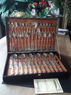 Festive silver-plated cutlery in original case