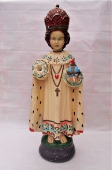 Rare One-Handed Chalkware ' Infant Jesus of Prague ' Statue / Candle Holder - 19th Century