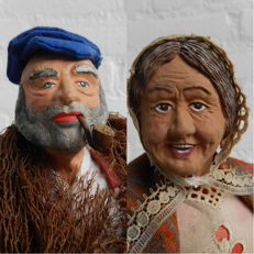 Two large authentic Provençal Santons - Nativity figurines - signed