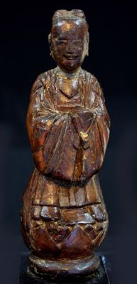 Wooden statuette of a servant - 17 cm - China - 19th century (Qing Dynasty period)