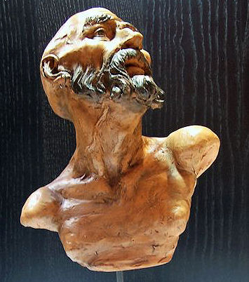 Bust of a Man, hand carved and oil painted terracotta sculpture - with wooden base and crystal glass eyes - Naples, Italy