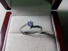 Engagement ring - 18 kt white gold - Diamonds 0.14 ct