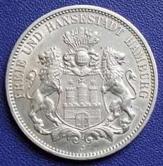 German Empire, Hamburg - 3 mark 1912J - silver