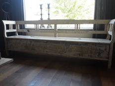 Authentic Romanian folding bench with original beer paint, early 20th century