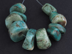 12 Ancient amazonite beads. Berber, Morocco